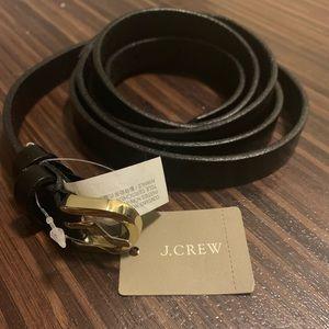 J. Crew Black Skinny Leather Belt NWT RUNS LARGE
